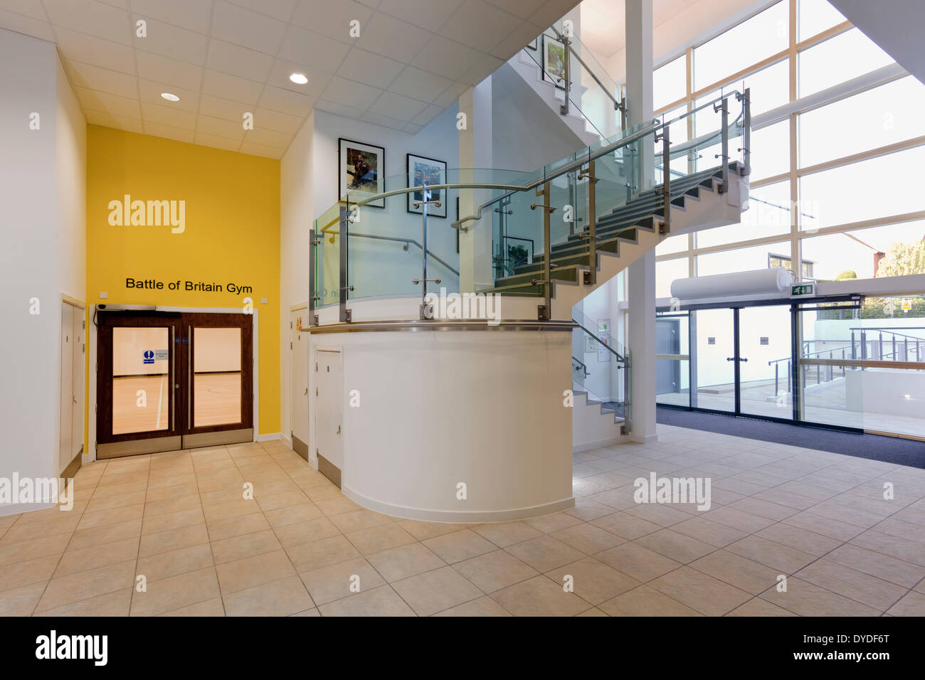 Interior main entrance stairs and doors to Battle of Britain Gym at Help for Heroes Rehabilitation Complex in Headley Court. & Interior main entrance stairs and doors to Battle of Britain Gym at ...