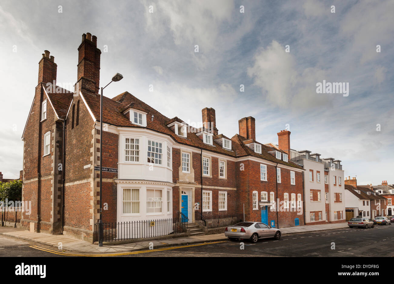 Exterior street view of the old buildings that make Damascus House and Emmaus House in Salisbury. - Stock Image