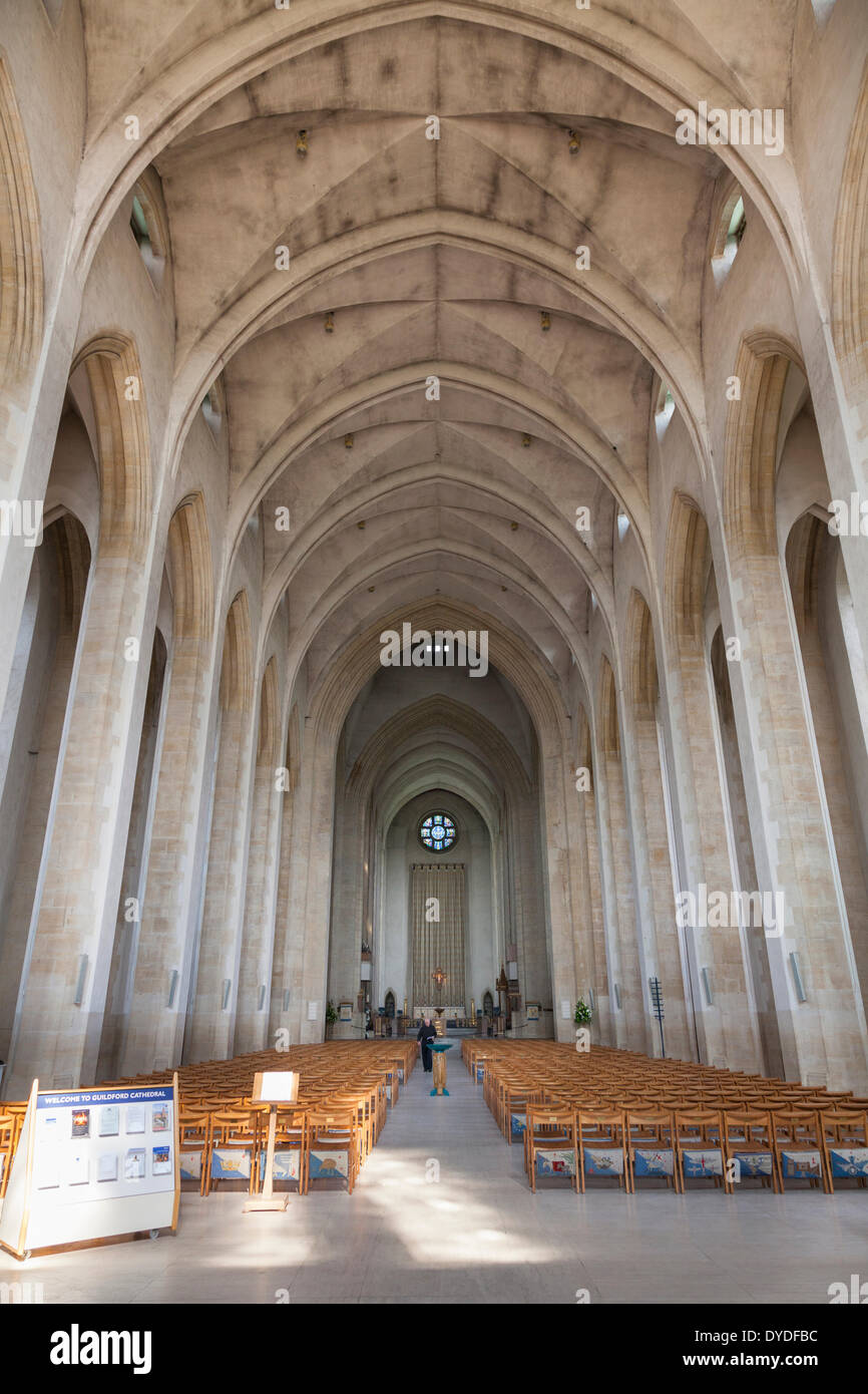 Interior view of Guildford Cathedral aisle and knave. - Stock Image