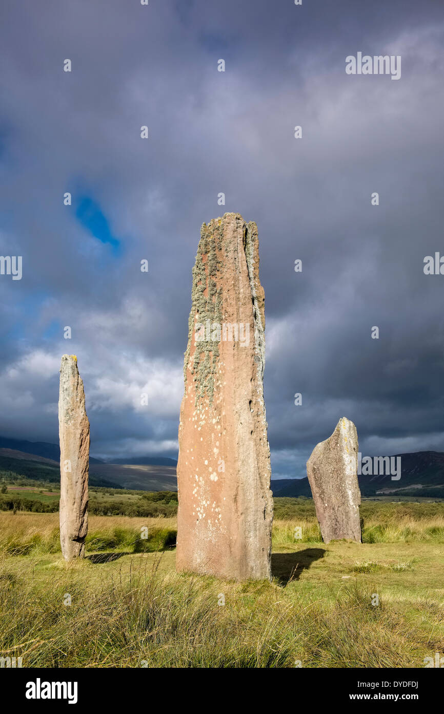 Neolithic standing stones at Machrie Moor dating from the Bronze Age. Stock Photo