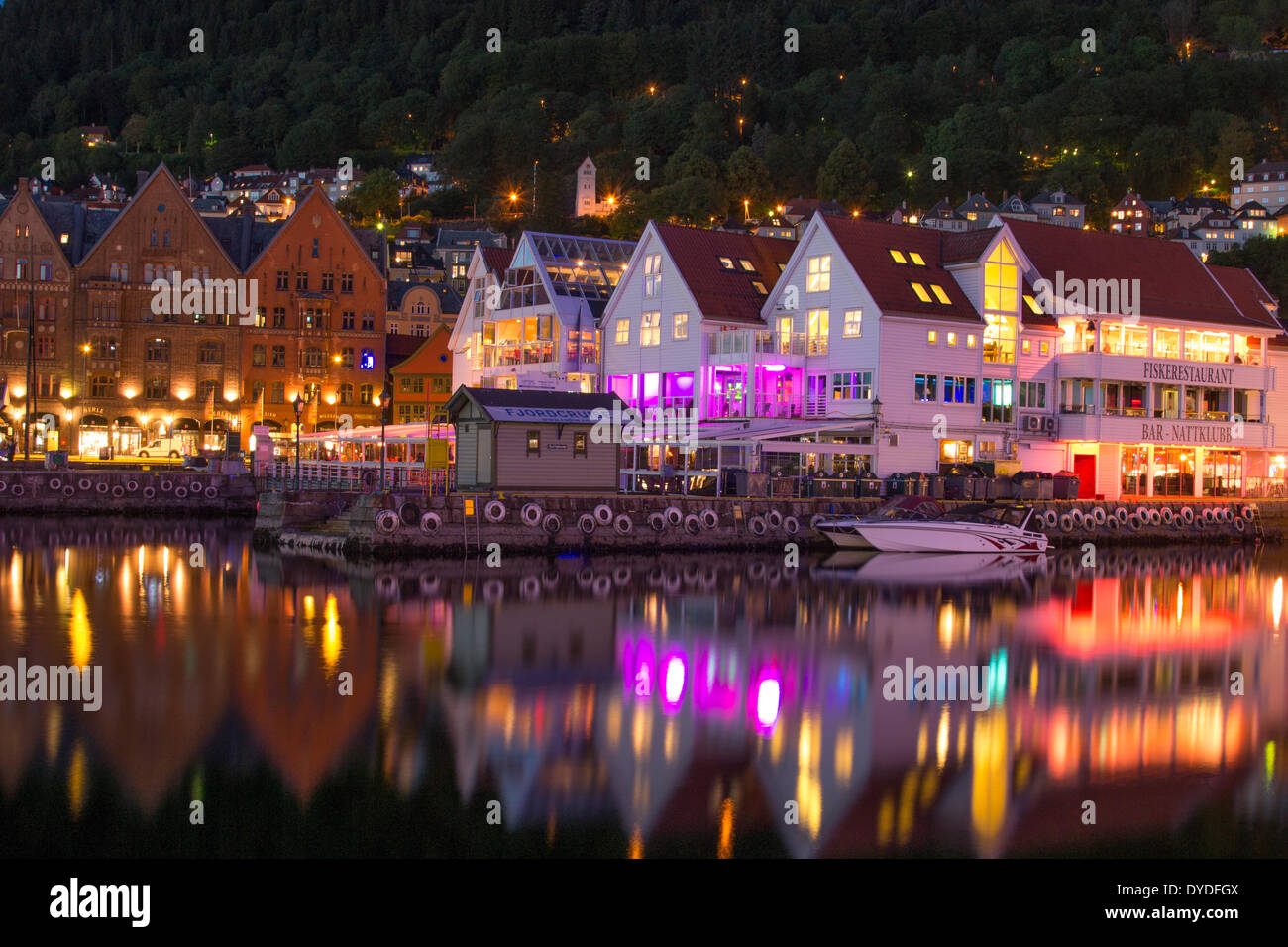 A view of Bergen harbour after sunset. - Stock Image