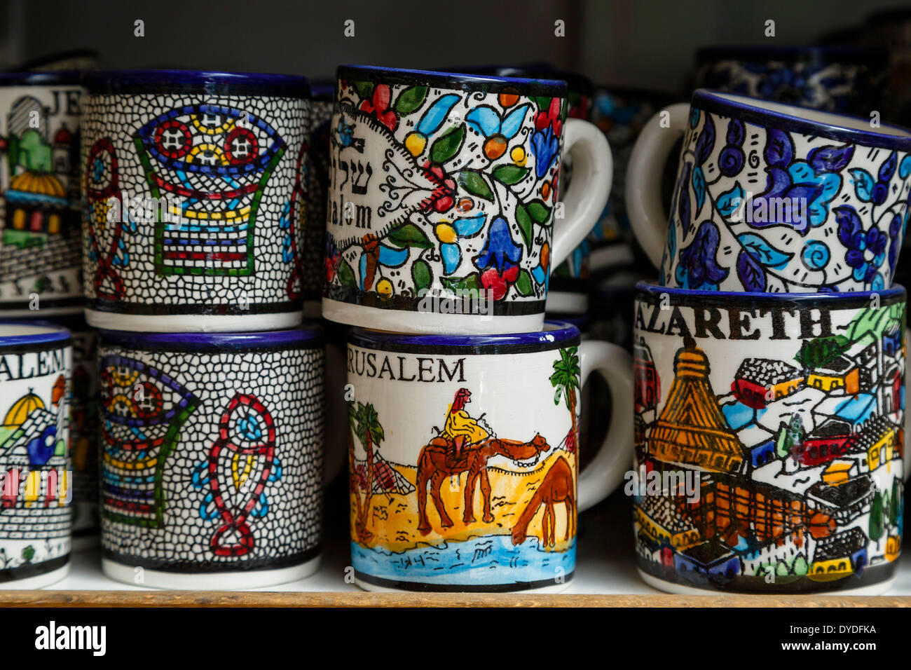 Pottery souvenirs, Nazareth, lower Galilee region, Israel. - Stock Image
