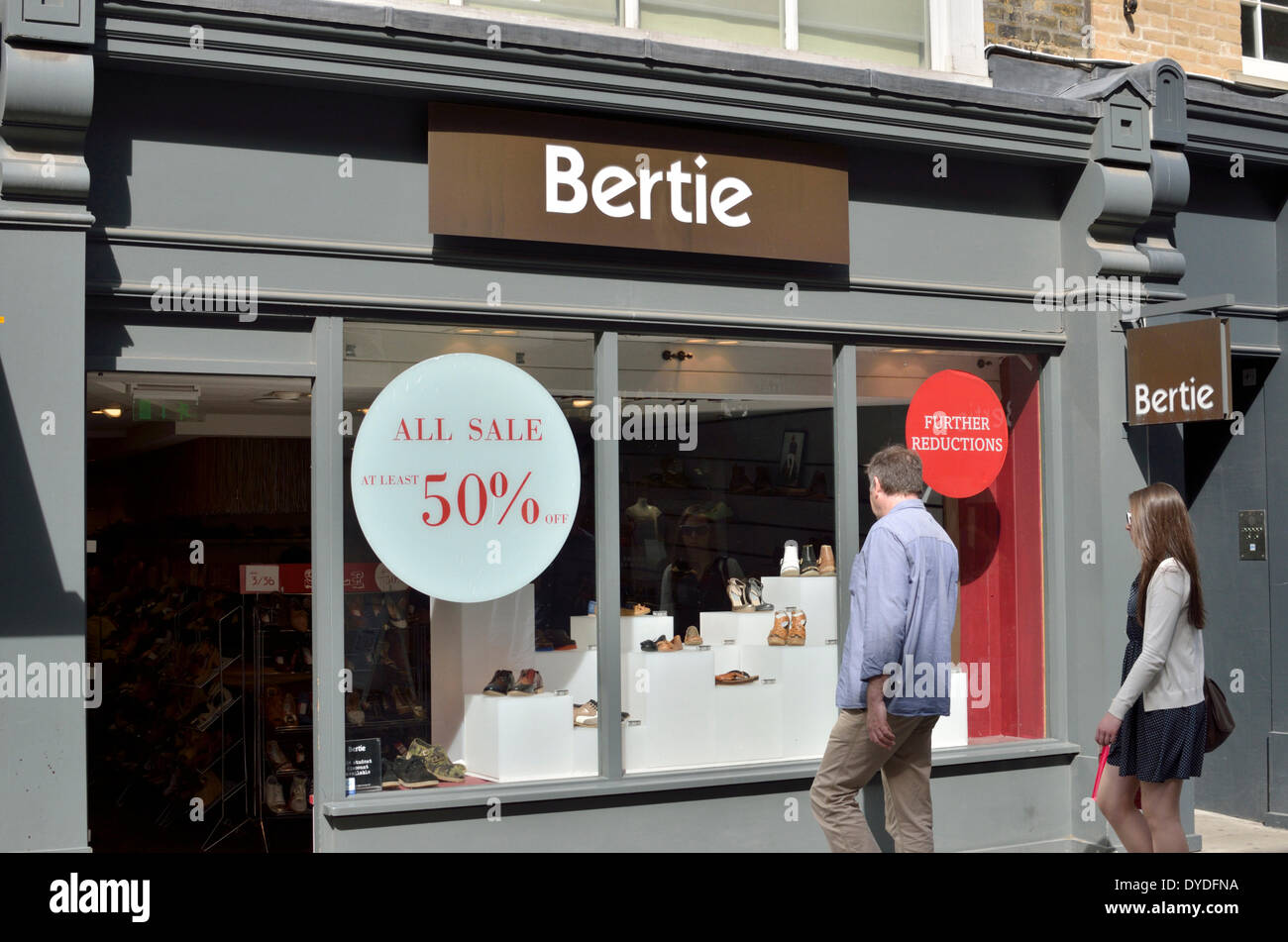 Bertie shoe shop in South Molton Street. - Stock Image