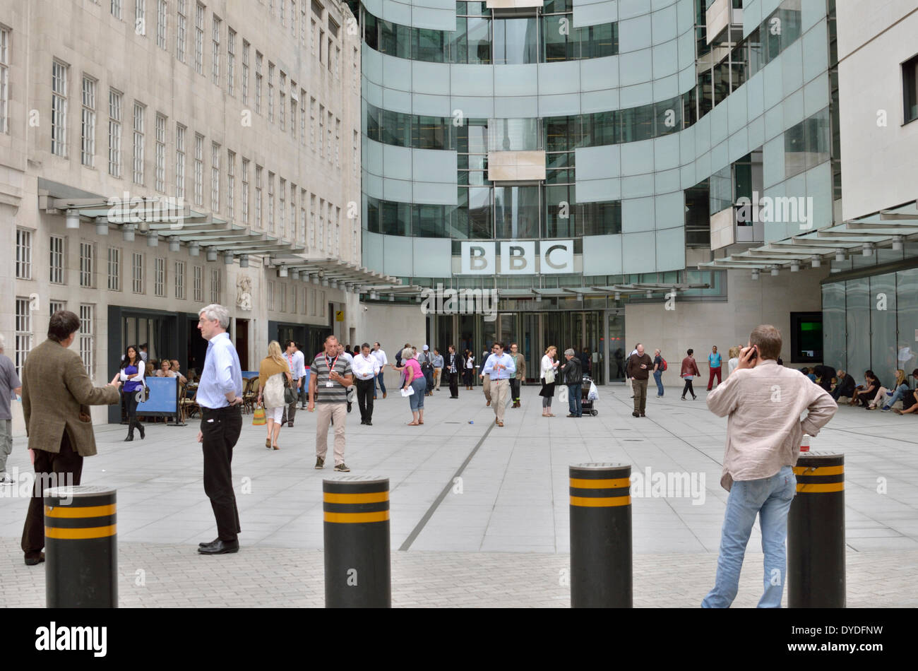 Staff outside BBC Broadcasting House extension. - Stock Image