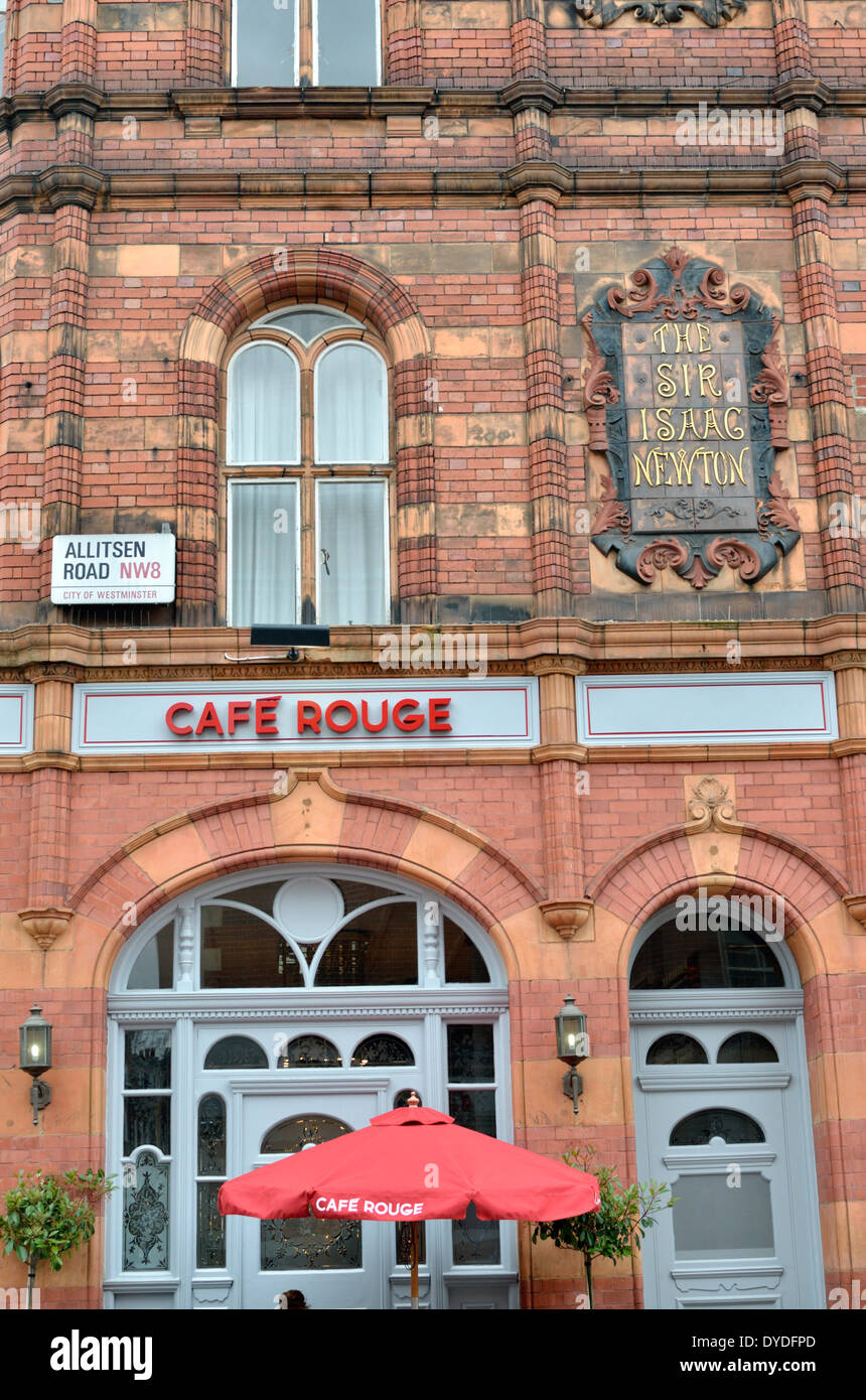 Cafe Rouge was formerly the Sir Isaac Newton pub in St Johns Wood High Street. - Stock Image
