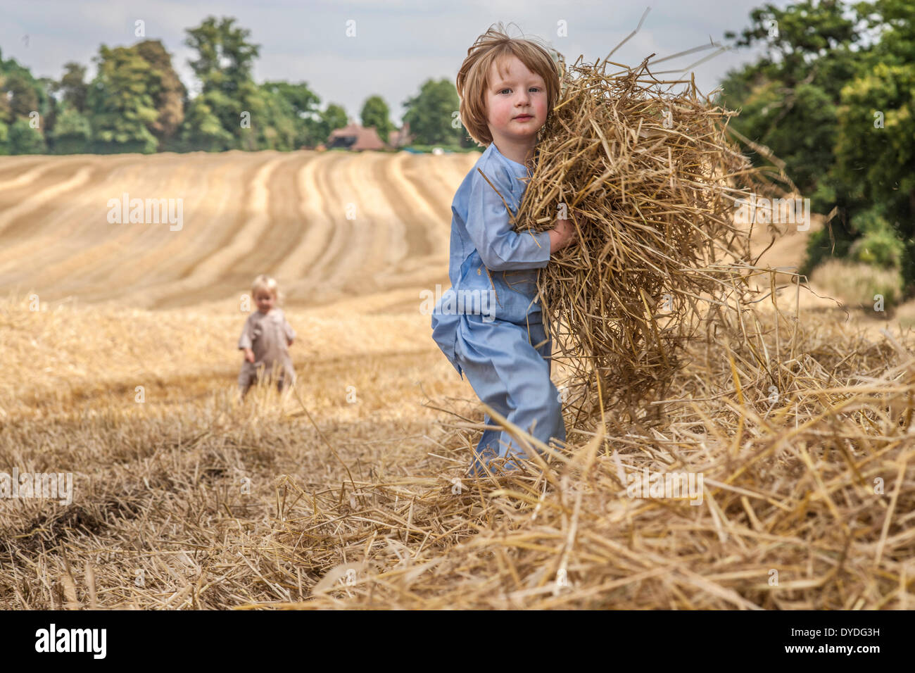 A two year old boy running in a field collecting straw. - Stock Image