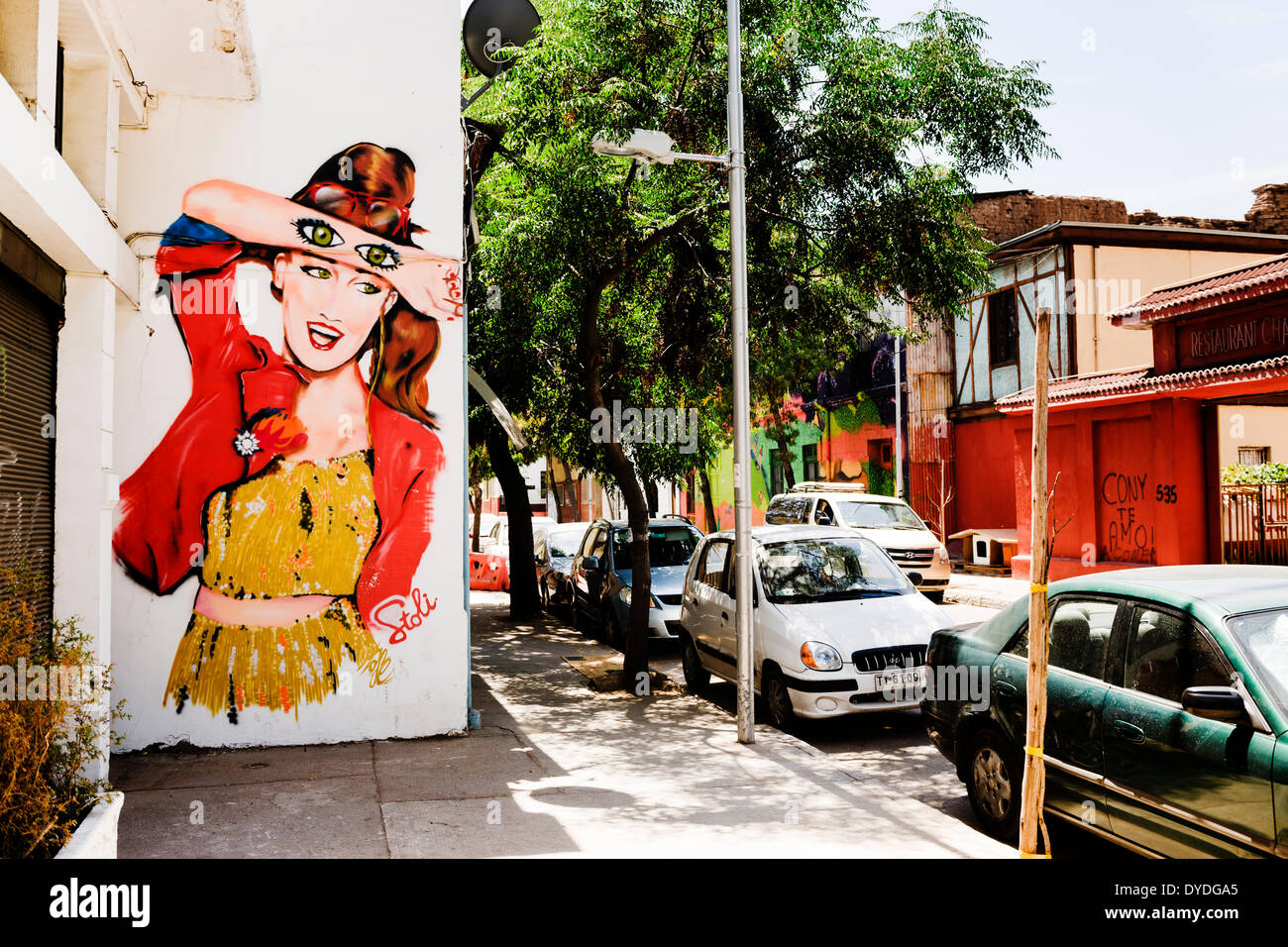 Street art in Barrio Providencia in Santiago. - Stock Image
