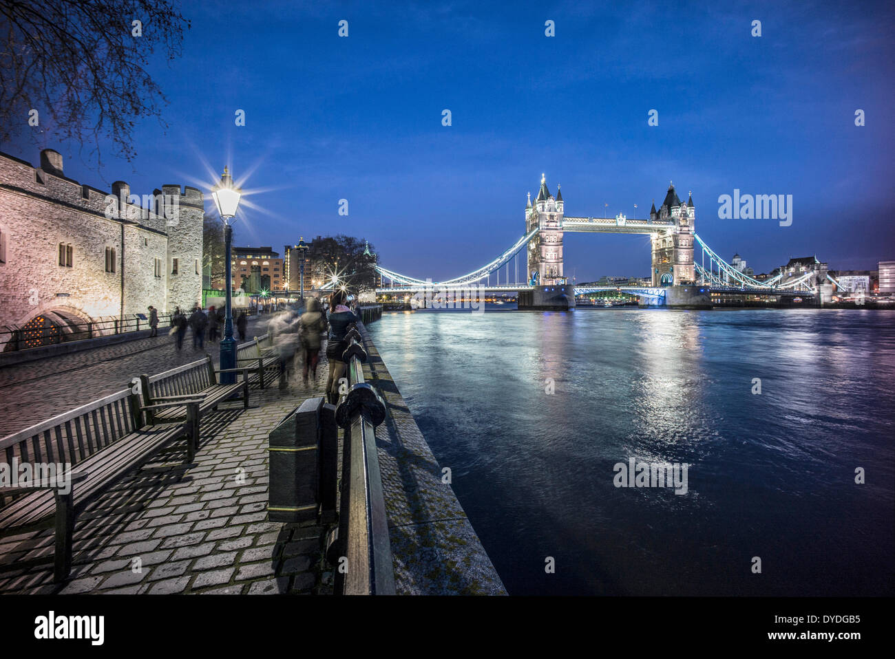 Tower Bridge and The Tower of London at dusk. - Stock Image