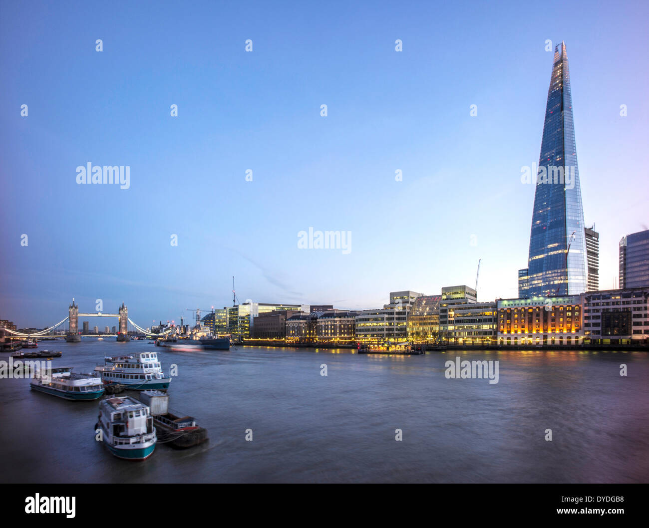 The Shard with The River Thames and Tower Bridge. - Stock Image