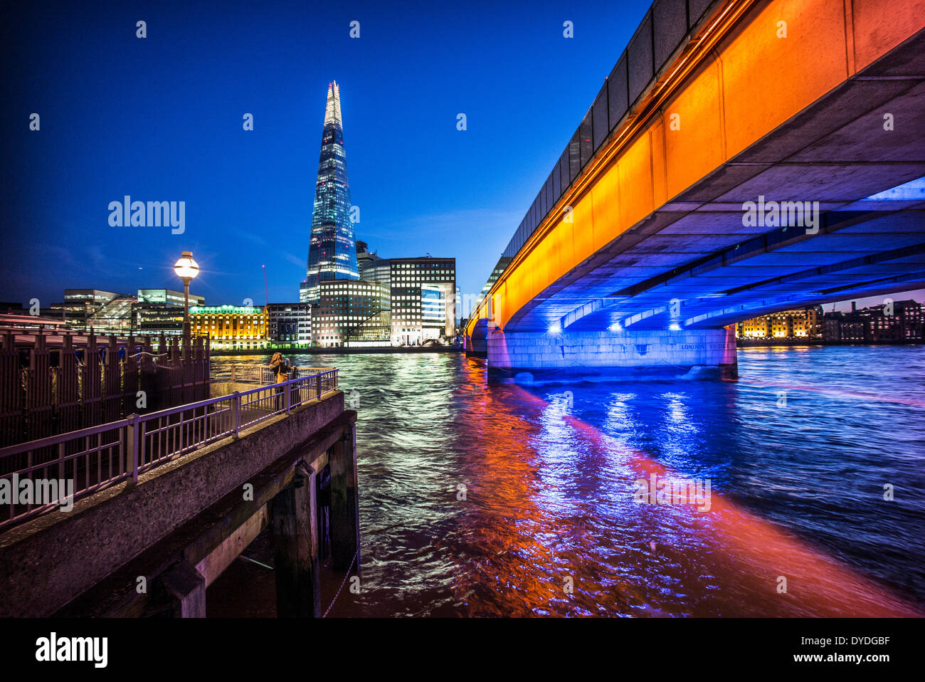 The Shard and London Bridge at dusk. - Stock Image