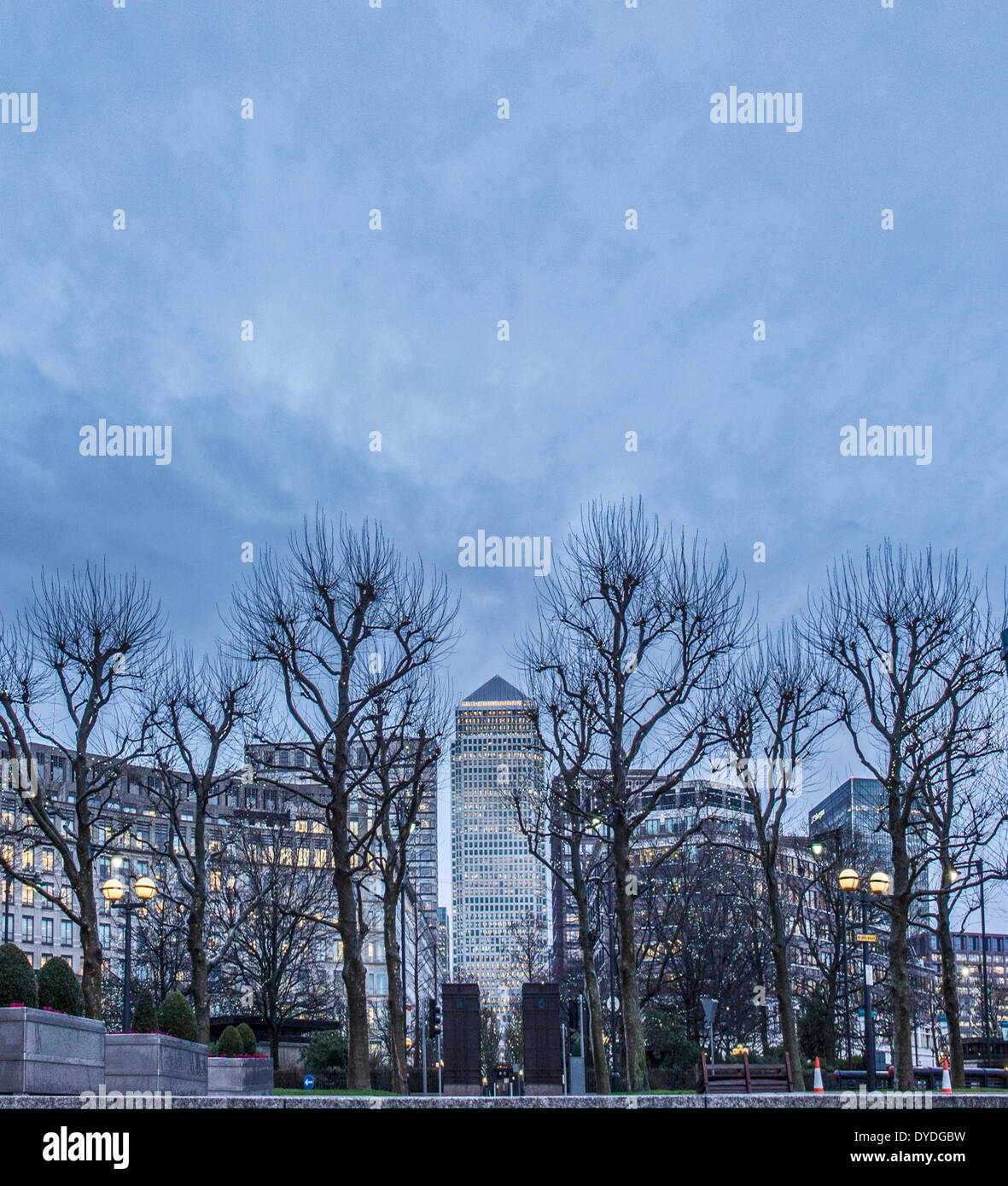 Canary Wharf in winter at dusk. - Stock Image