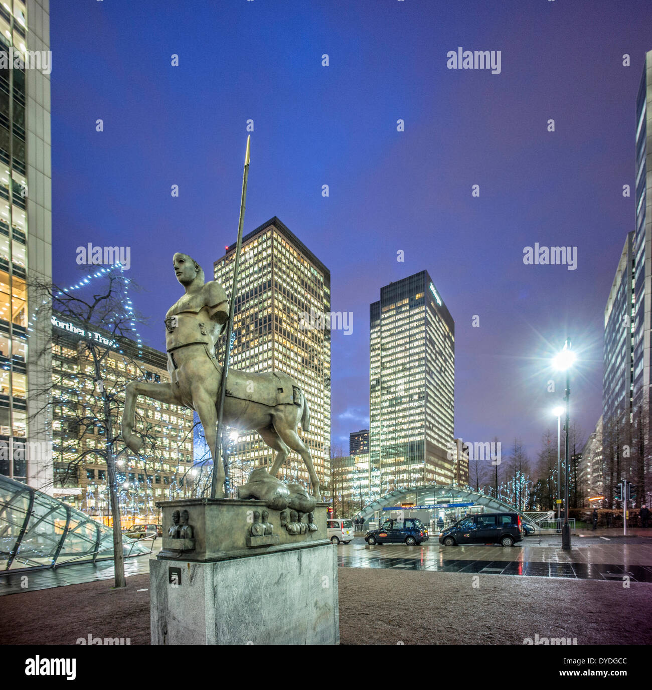 Canary Wharf at dusk. - Stock Image