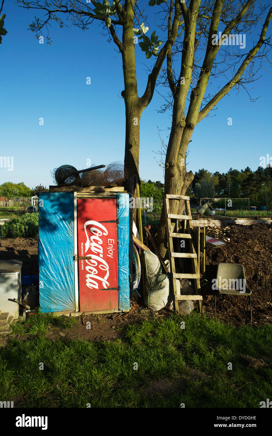 North London allotments in Carter Hatch Lane, London Borough of Enfield, England, United Kindom. Garden shed. Recycling. Reuse. - Stock Image