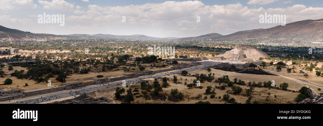 View from the Pyramid of the Sun at Teotihuacan in Mexico City. - Stock Image