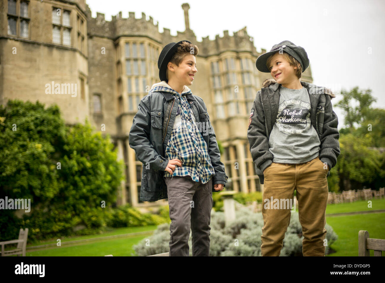 Two young boys outside at Thornbury Castle. - Stock Image