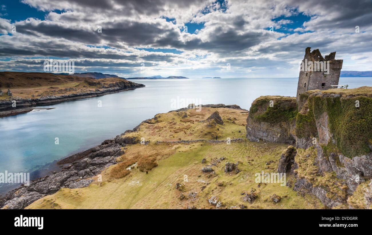 A view towards Gylen Castle on the Kerrera Island. - Stock Image