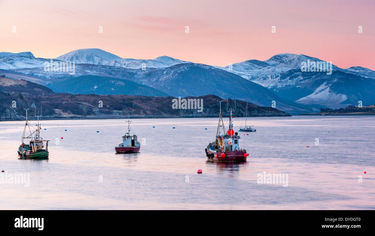 Fishing boats on Loch Broom near the port of Ullapool. - Stock Image