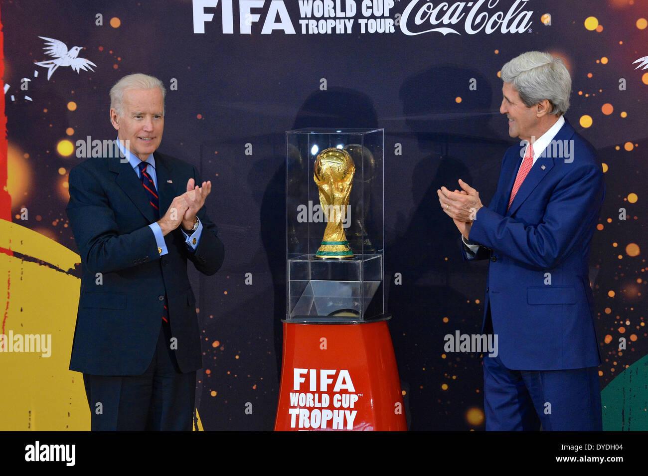 Washington DC, USA . 14th Apr, 2014. US Vice President Joe Biden and Secretary of State John Kerry unveil the FIFA Stock Photo