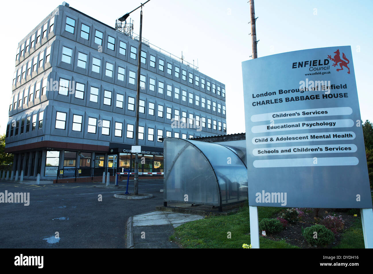 Enfield Council building / Offices, Charles Babbage House, London Borough of Enfield, England, UK - Stock Image