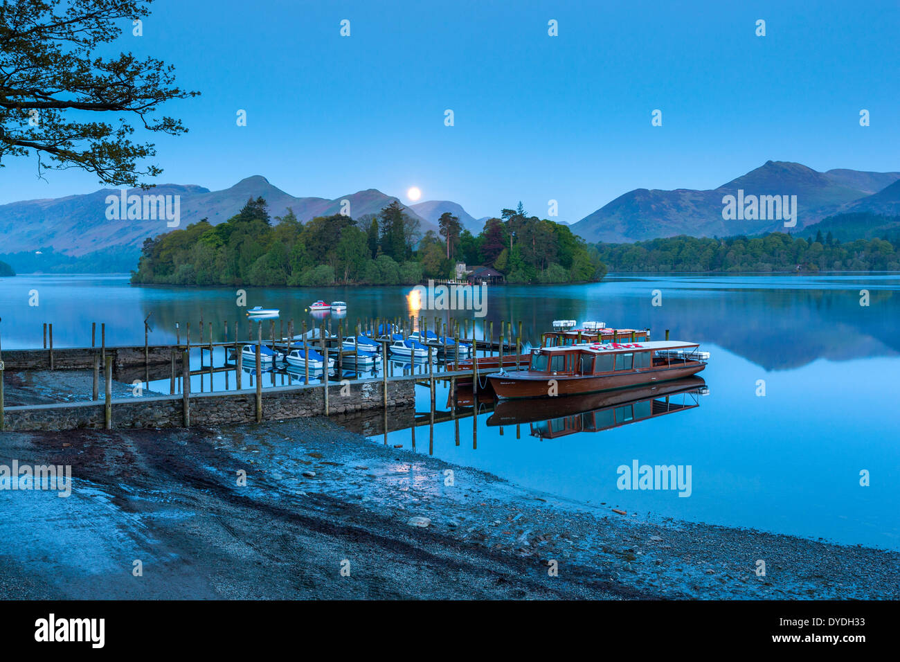 Boats on Derwentwater in the Lake District National Park. - Stock Image