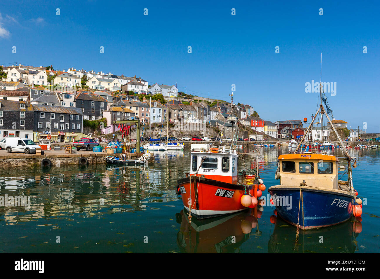 Sailing boats in Mevagissey harbour. Stock Photo