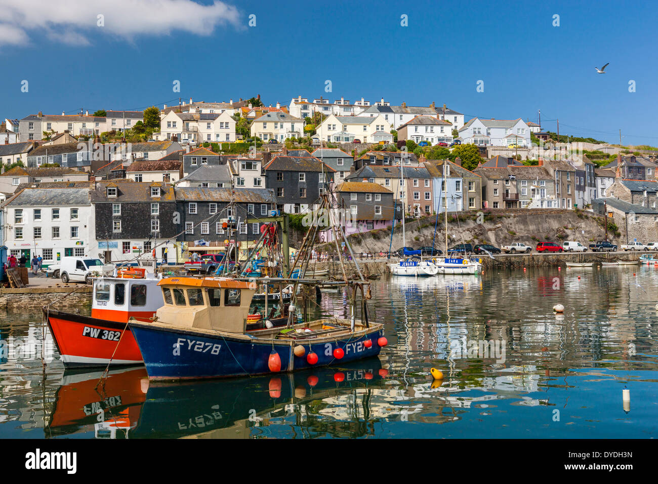 Sailing boats in Mevagissey harbour. - Stock Image
