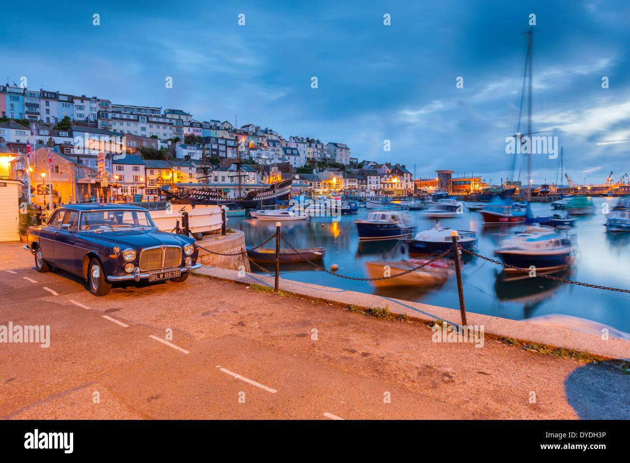Boats moored in Brixham harbour. - Stock Image