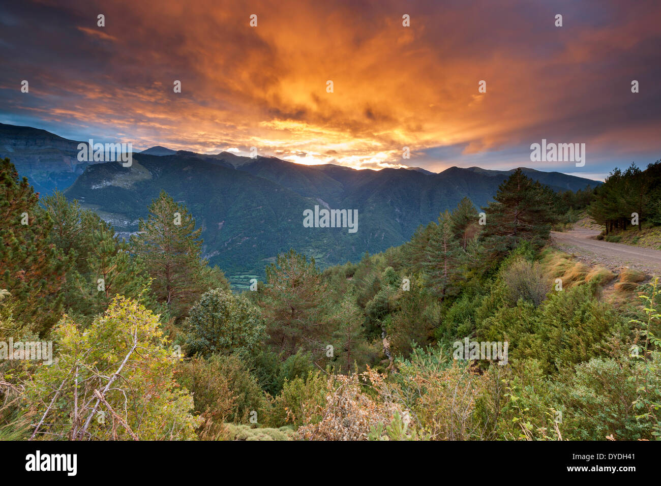 Sunrise over Valle de Broto in the Pyrenees. - Stock Image