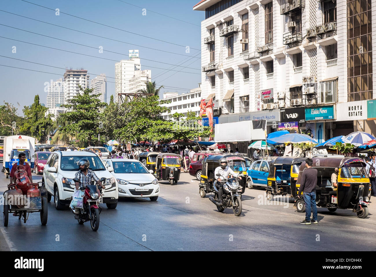 Midday traffic in on a suburban road in Mumbai. Stock Photo
