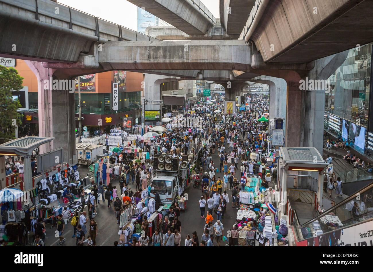 Bangkok, City, Thailand, Asia, demonstration, downtown, expressway, market, people, political, - Stock Image