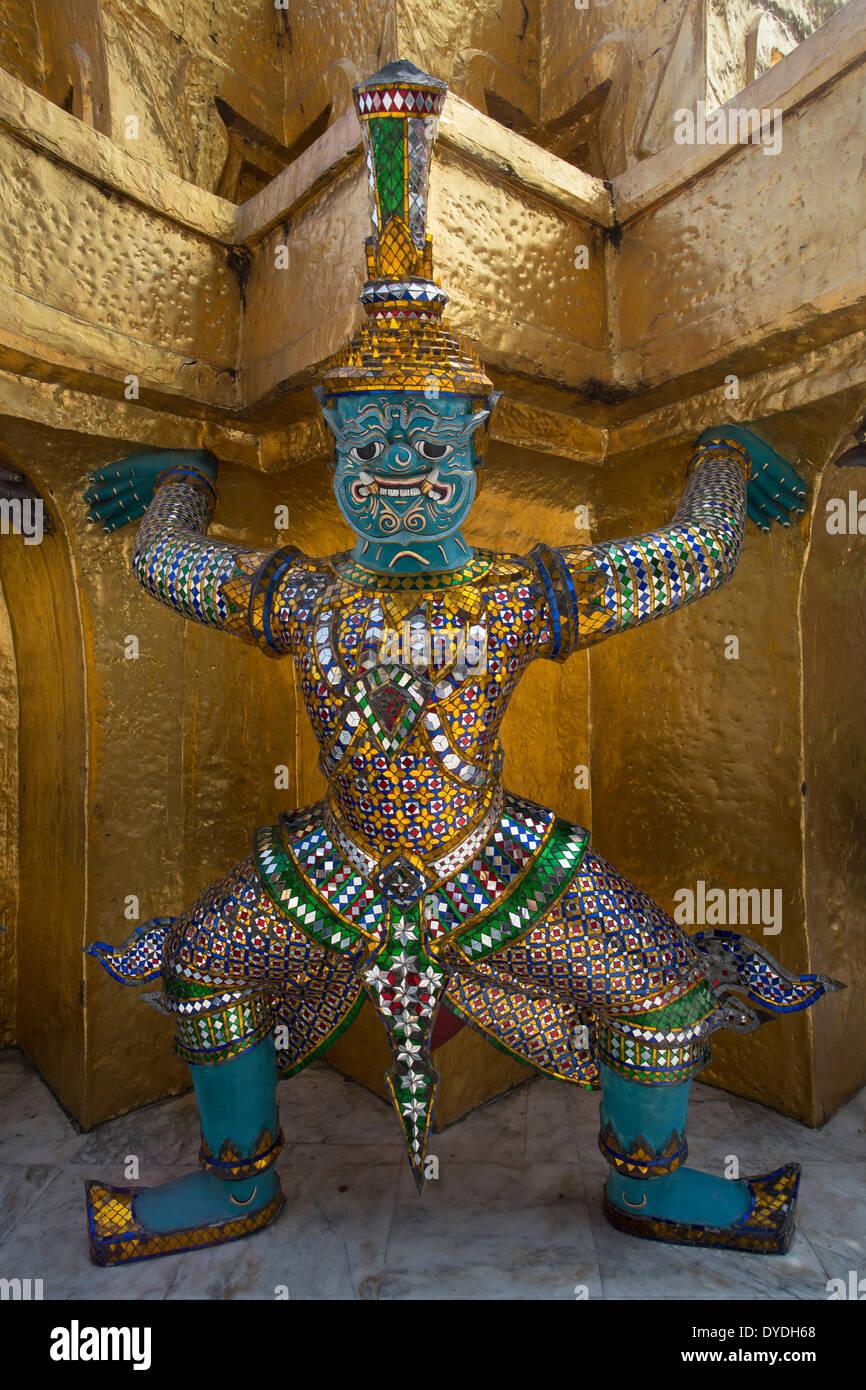 architecture colourful demon detail famous history mask palace royal skyline touristic travel unesco Wat Phra Kaew golden - Stock Image