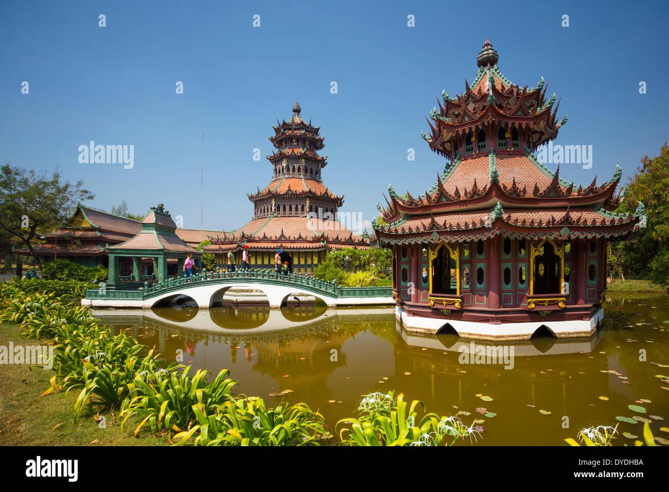 Thailand, Asia, Bangkok, Ancient, Siam Park, The Phra Kaew, architecture, bridge, culture, park, pavilion, pond - Stock Image