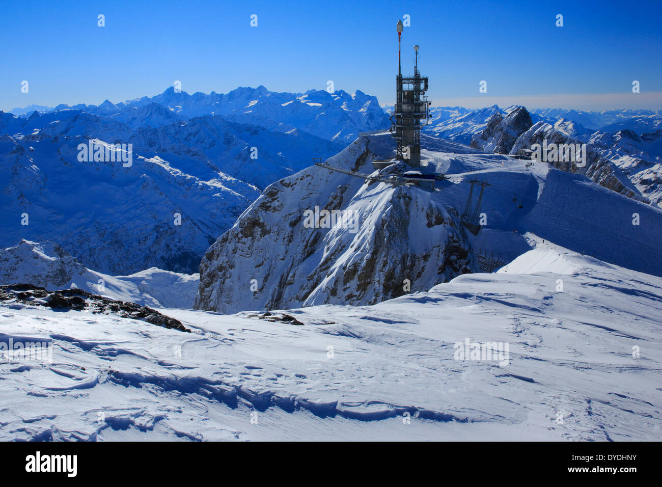 Alps view mountain mountain panorama mountains Bern Bernese Alps radio tower mountains sky massif Obwalden panorama snow Swi - Stock Image