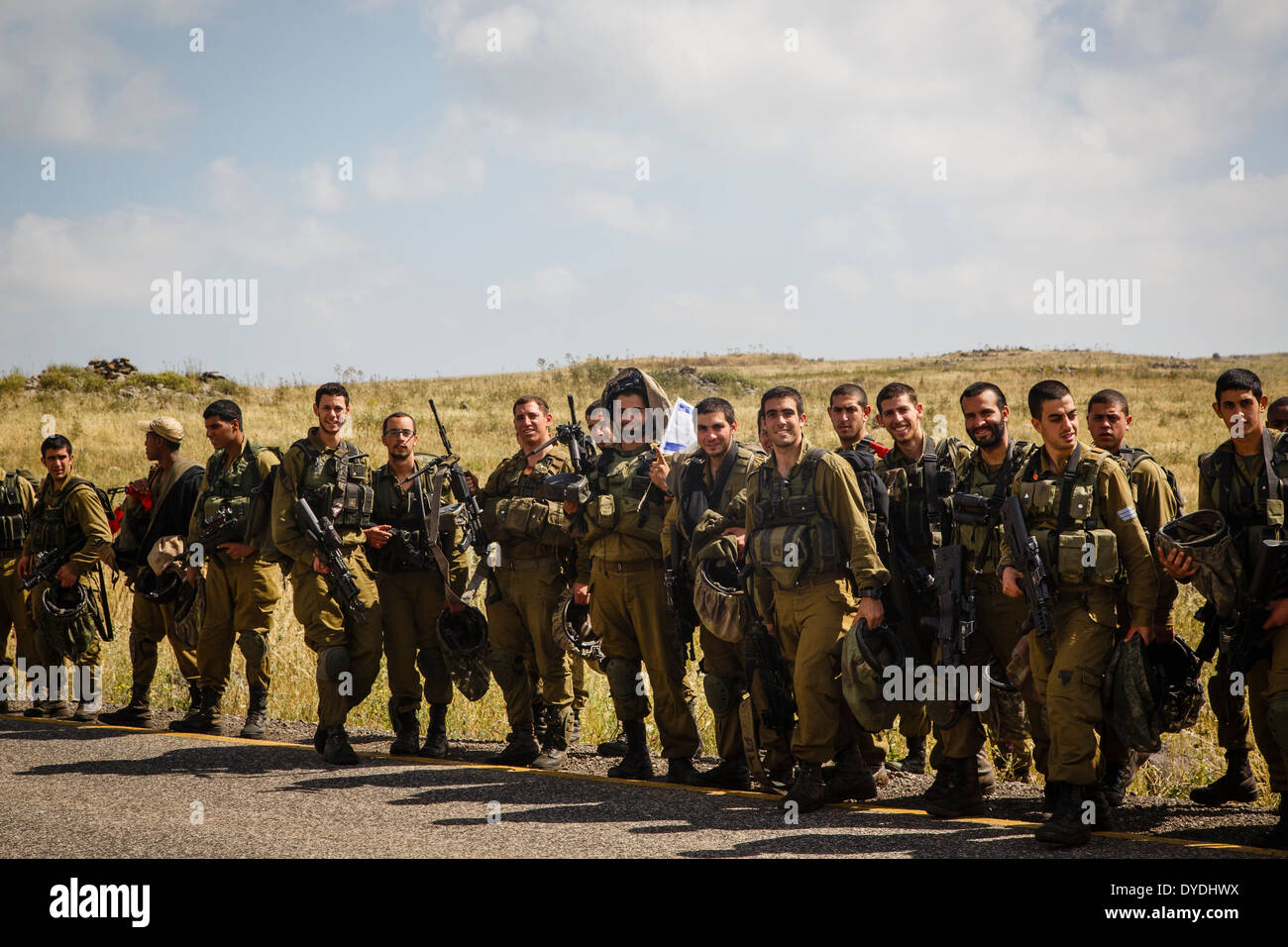 Israeli soldiers at the Golan Heights, Israel. - Stock Image
