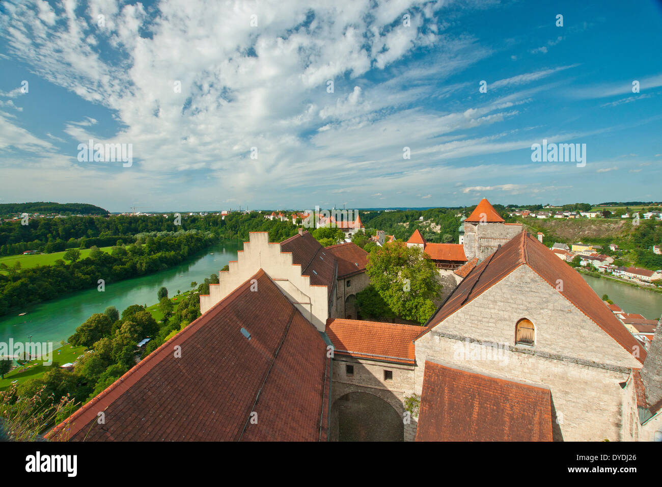 Bavaria Germany Europe building construction historical old wall architecture facade architecture style Burghausen Stock Photo