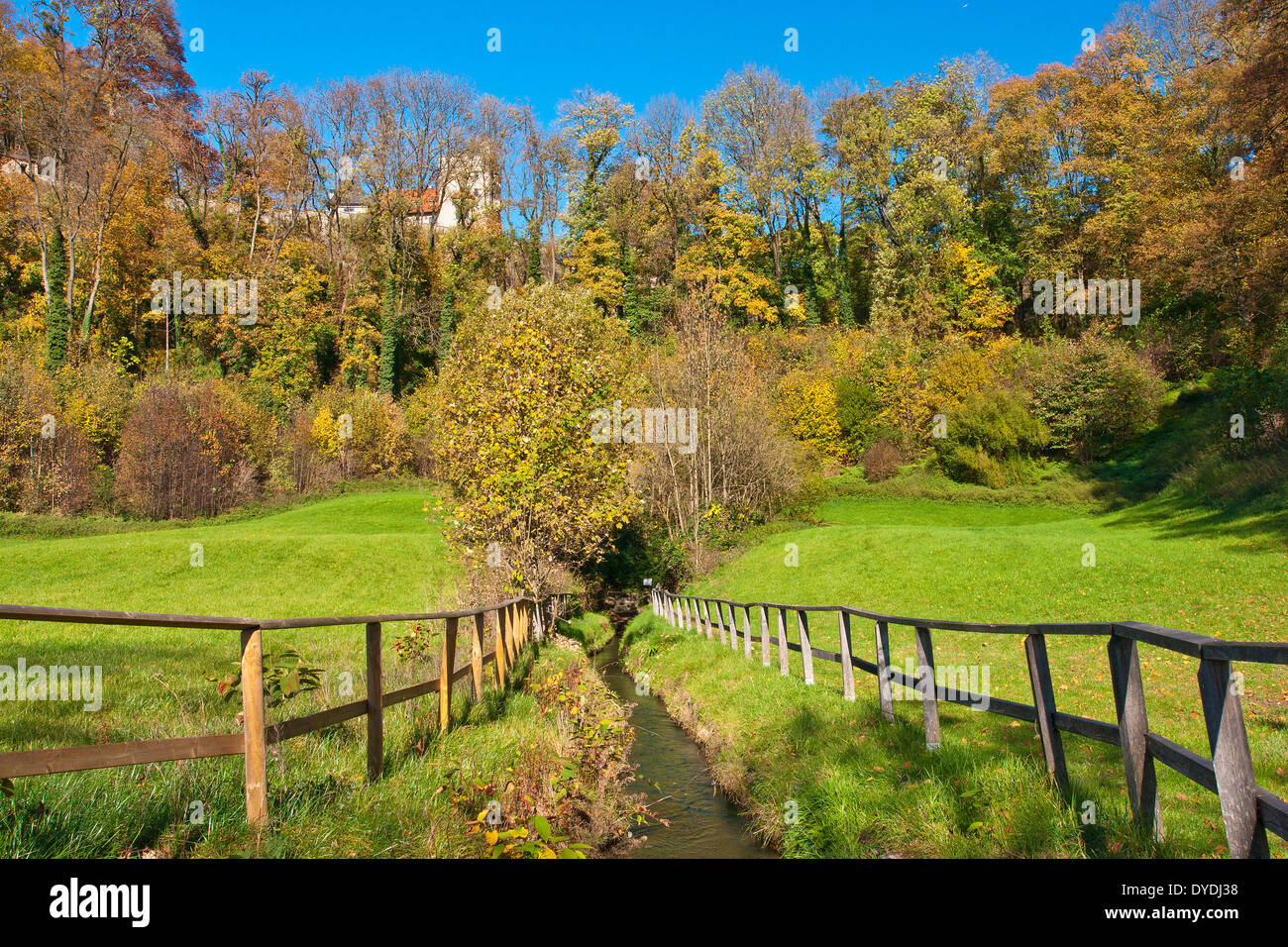 Austria, Salzburg, water, way, canal, meadow, - Stock Image