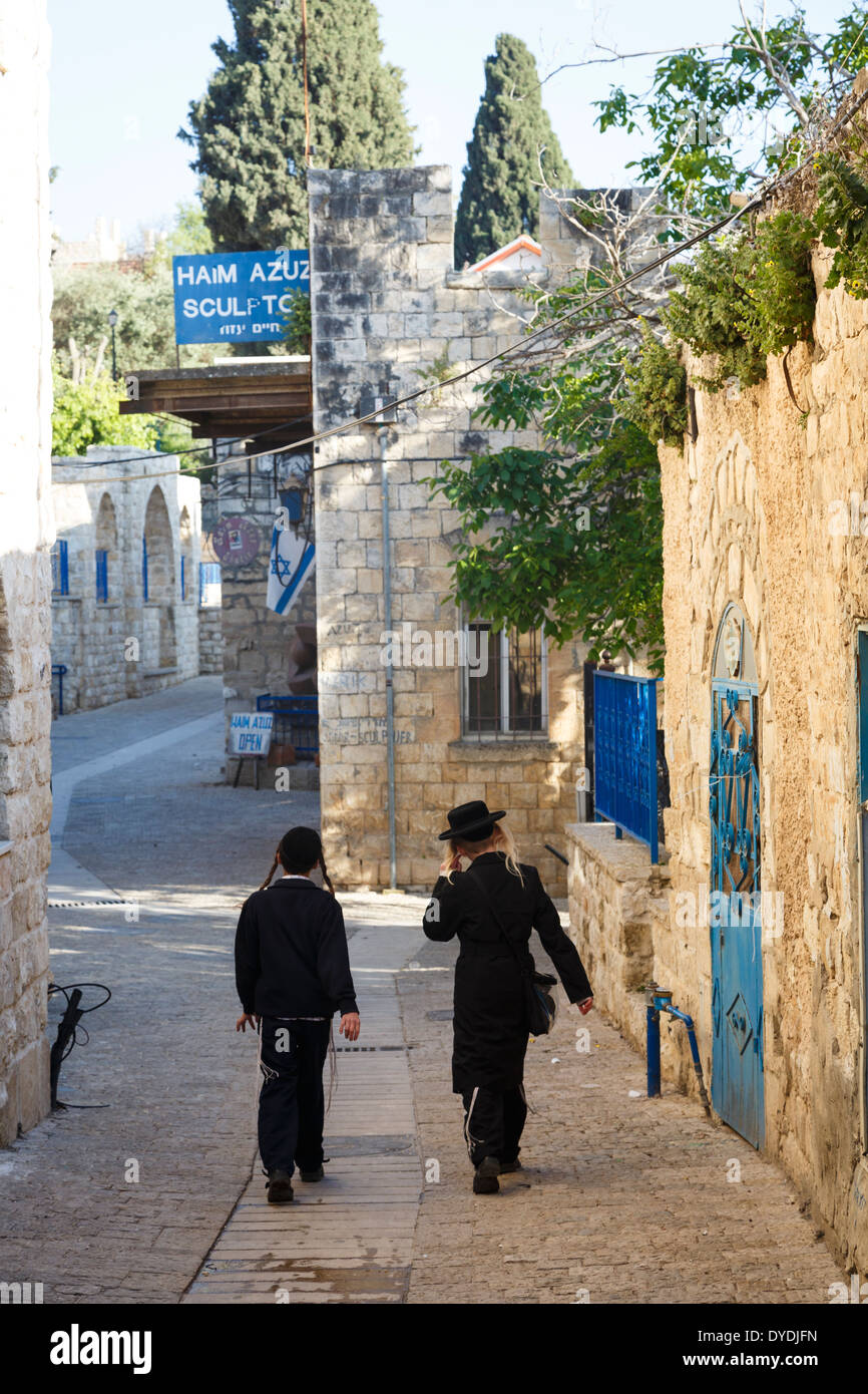 Orthodox kids at the old city of Safed, upper Galilee, Israel. - Stock Image