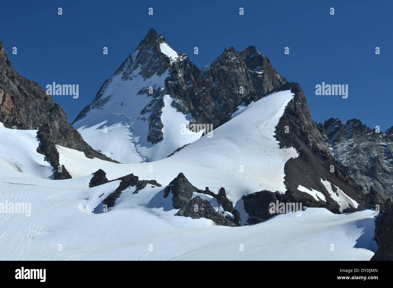 Swiss Switzerland Europe Valais Wallis alps alpine mountains peaks Europe sport nature ice glacier summer Zermatt ferpecle - Stock Image