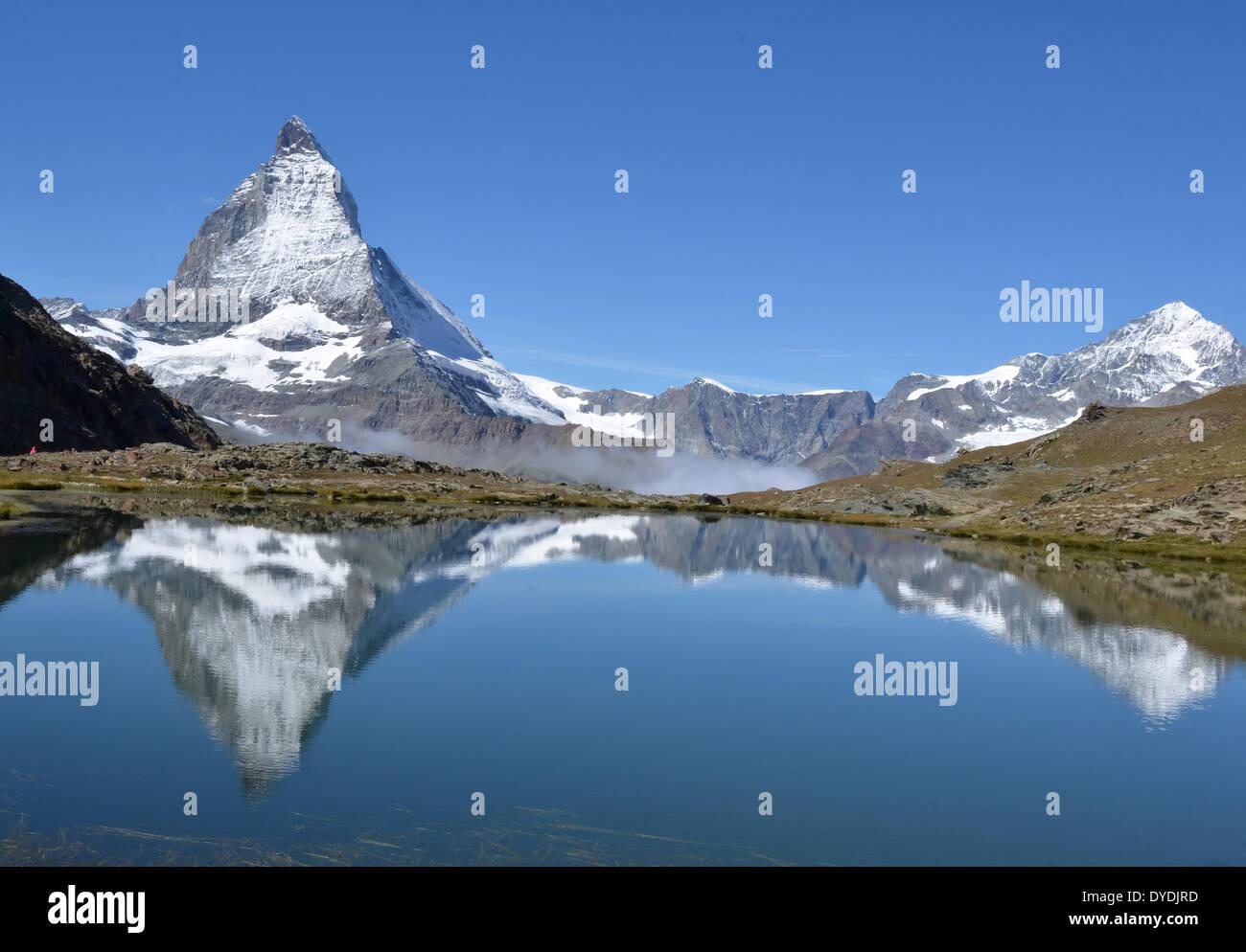 Swiss Switzerland Europe Valais Wallis alps alpine mountains peaks Europe sport nature ice glacier summer Zermatt rocks m - Stock Image