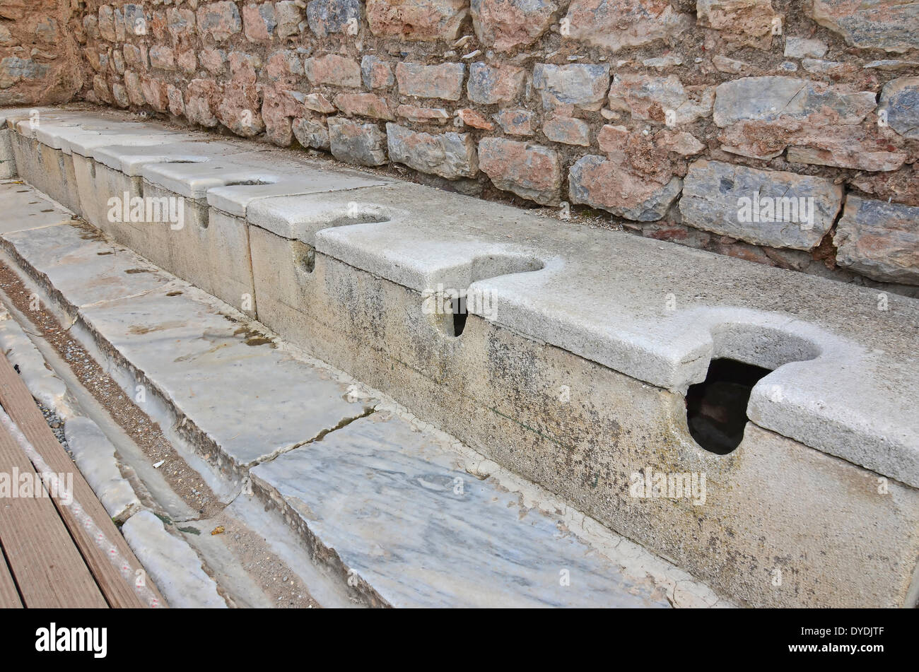 toilet latrine wc bog public toilets long drop john evacuation crap crapper defecation defecate relief dunny ancient Rome r - Stock Image