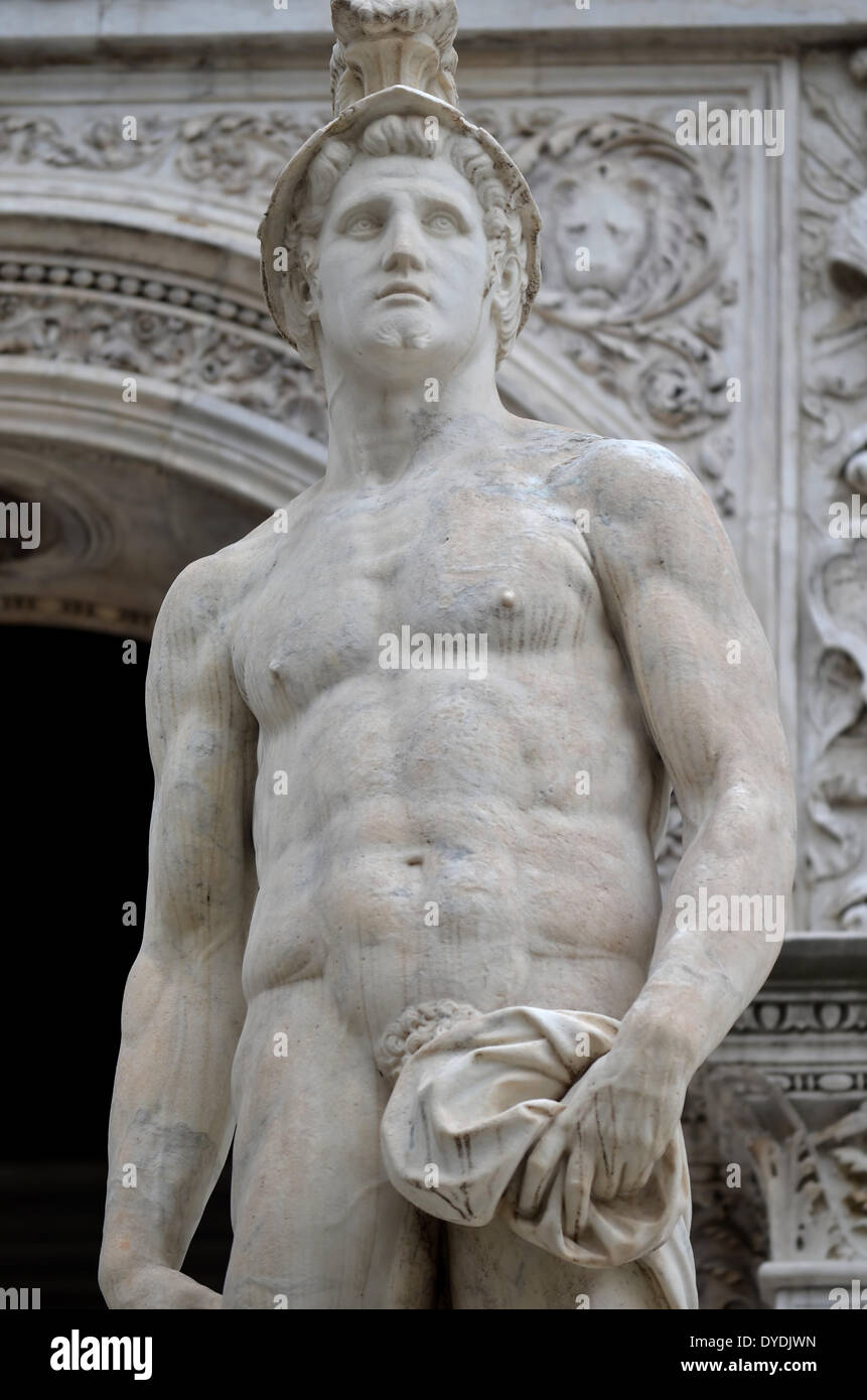 Mars god war bellicose statue marble classical roman Italy culture god of war Venice doge palace doge's palace battle Stock Photo