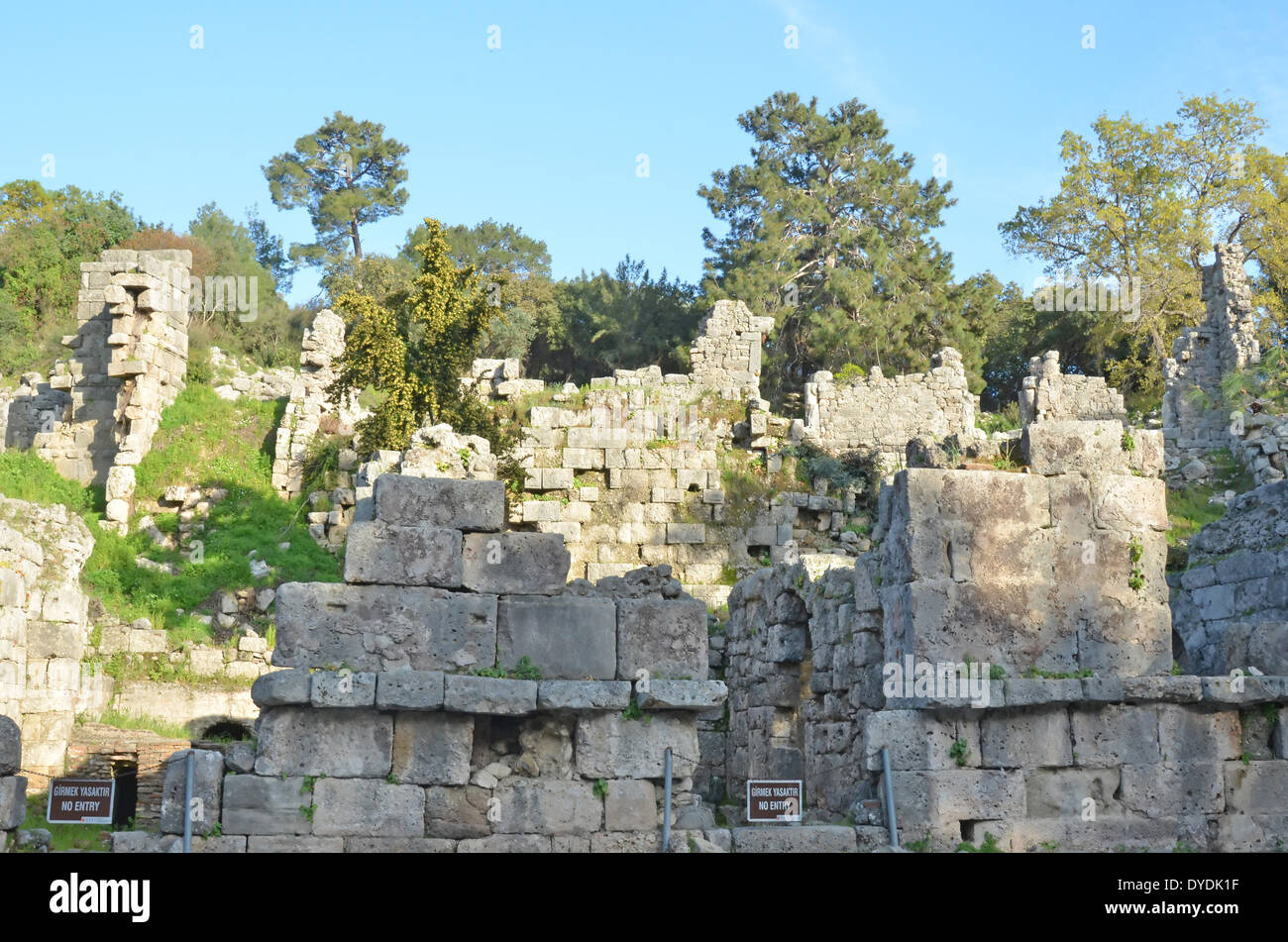 ruins town architecture walls Greek ancient Greek history Rhodes turkey Anatolia centre Phaselis Lycia Lycian league Alexand - Stock Image