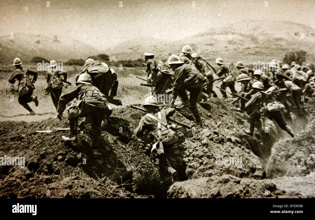 Charge by the Royal Naval Division on the Gallipoli Peninsula. World War One, 1915. - Stock Image