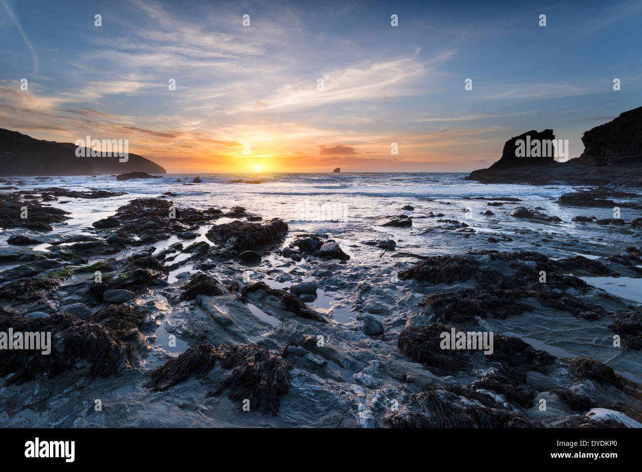 Sunset at Trevellas Coombe beach in St Agnes in Cornwall - Stock Image