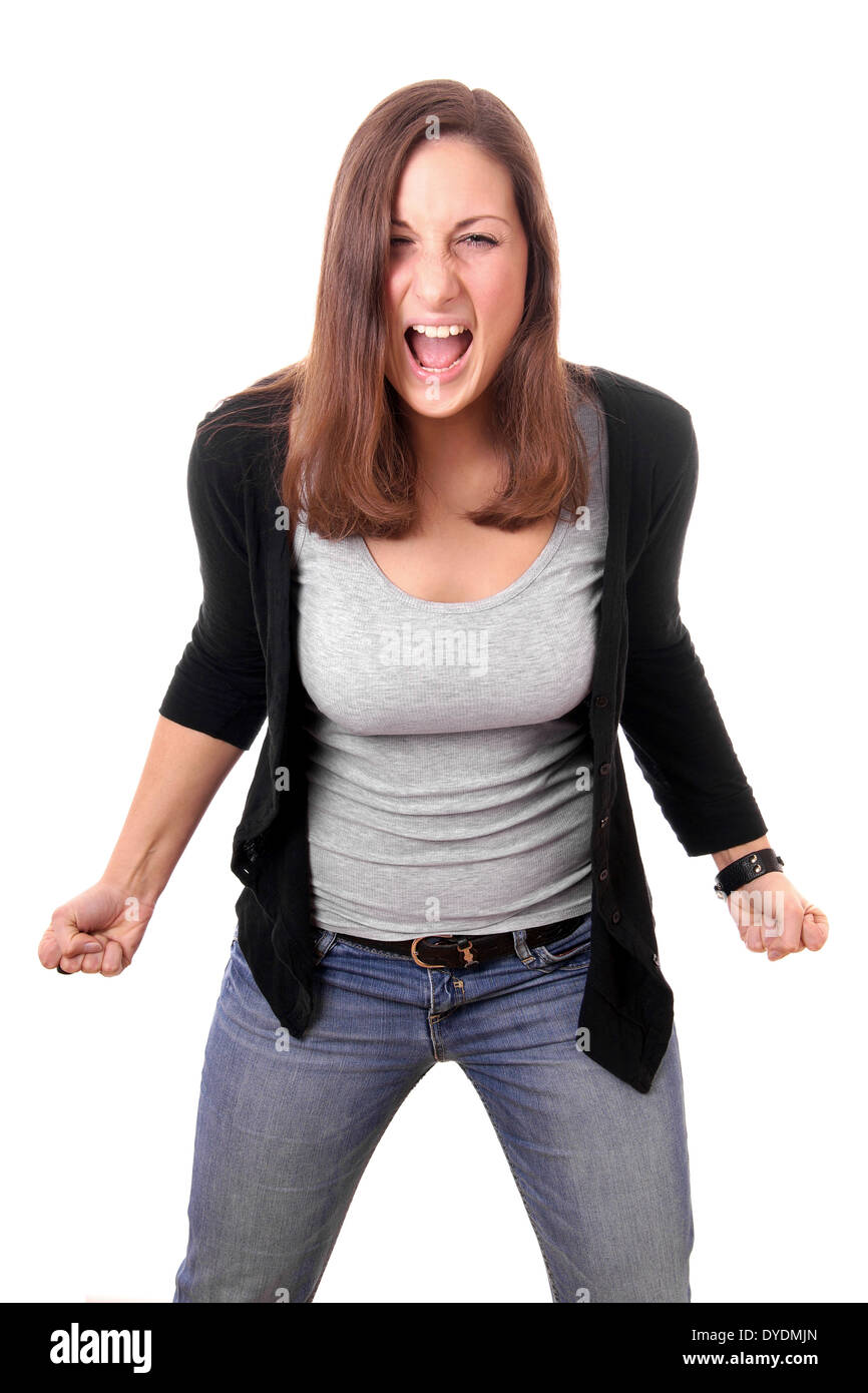 angry woman with clenched fists shouting - Stock Image
