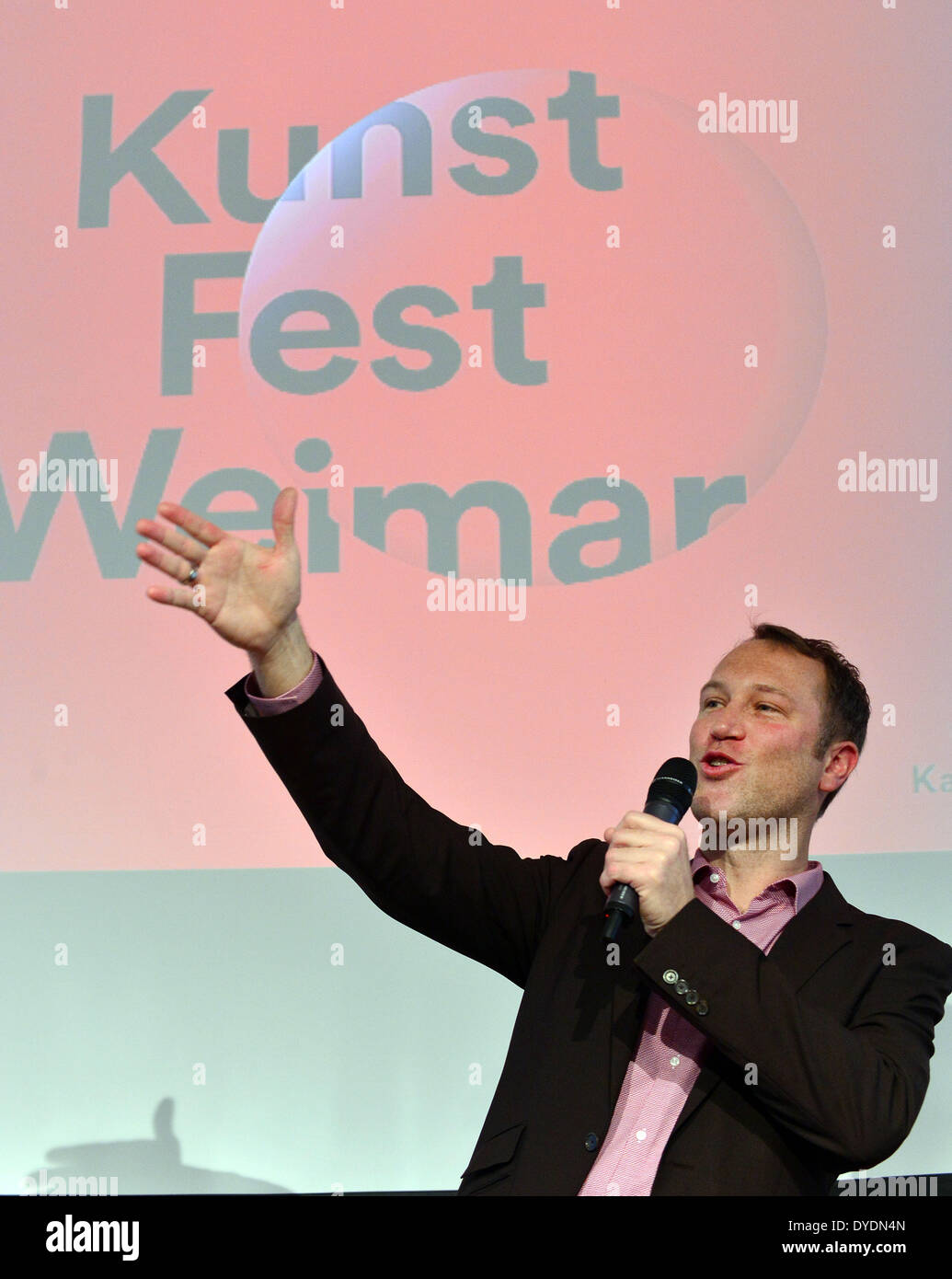 Weimar, Germany. 15th Apr, 2014. Christian Holtzhauer, the new director of the art festival 'Kunstfest Weimar' presents Stock Photo