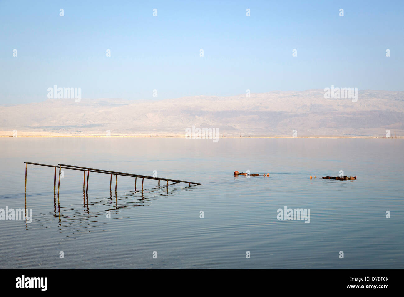 People floating at the Dead Sea, Israel. Stock Photo