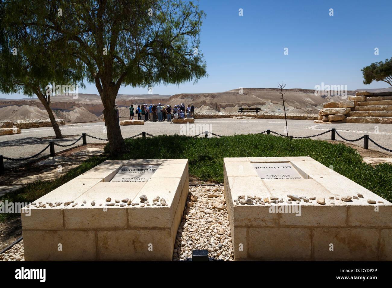 The grave site of David Ben Gurion in Sde Boker, Negev region, Israel. - Stock Image