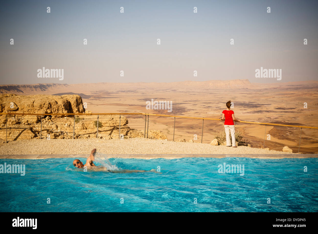 View over the Ramon crater seen from Beresheet hotel, Mitzpe Ramon, Negev region, Israel. - Stock Image