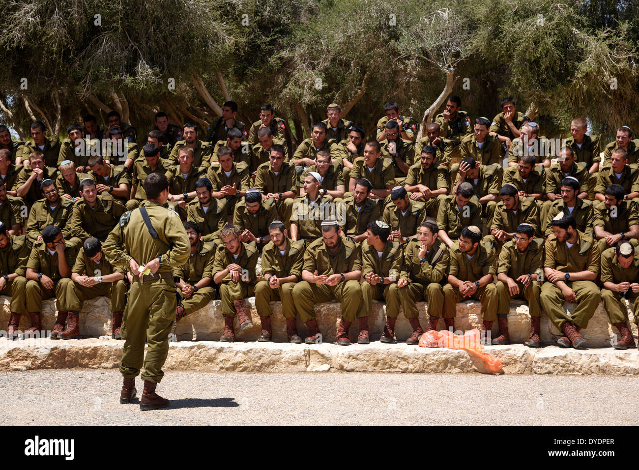 Soldiers by the grave site of David Ben Gurion in Sde Boker, Negev region, Israel. - Stock Image